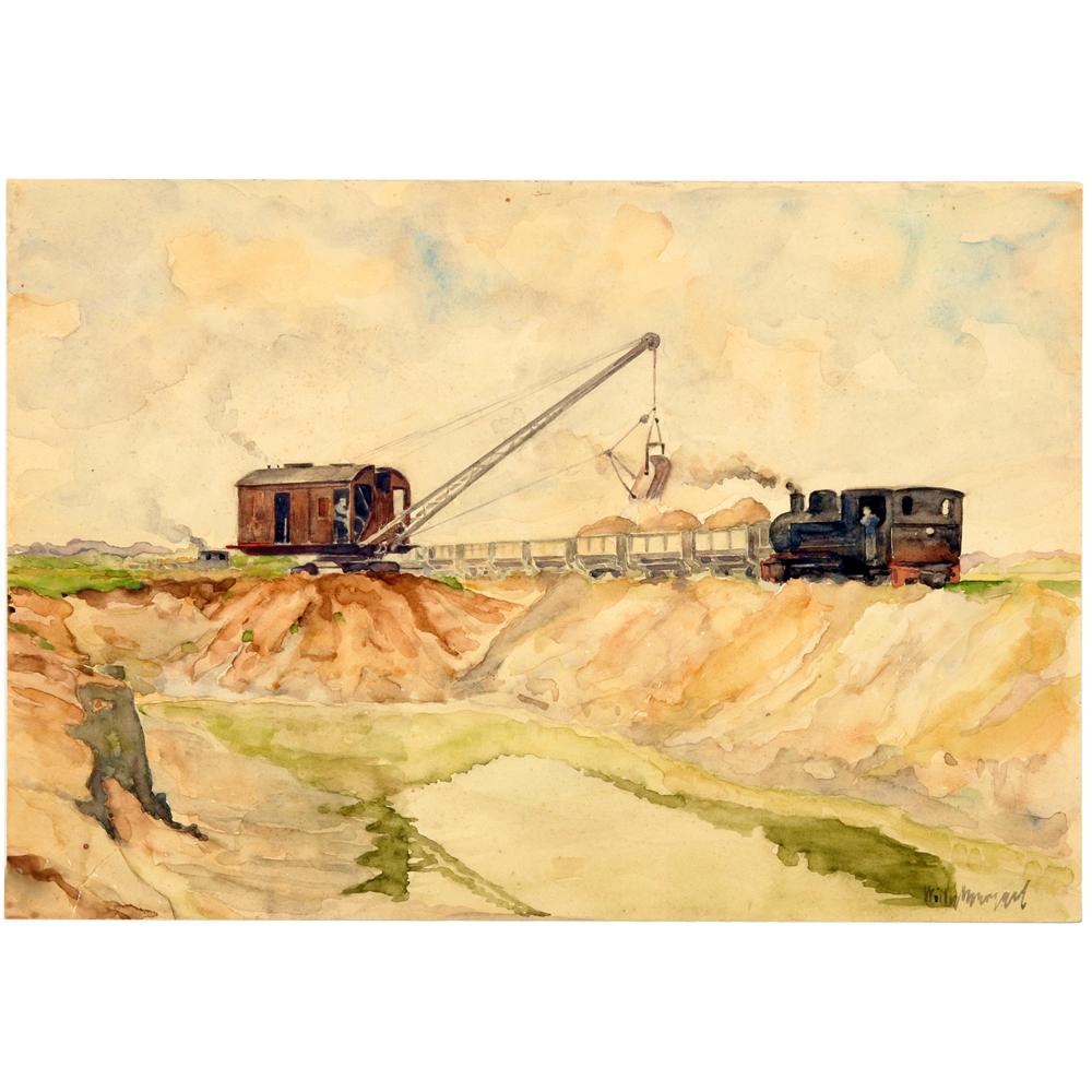 Aquarel: Werkzaamheden aan het Twente-Rijnkanaal, 1936