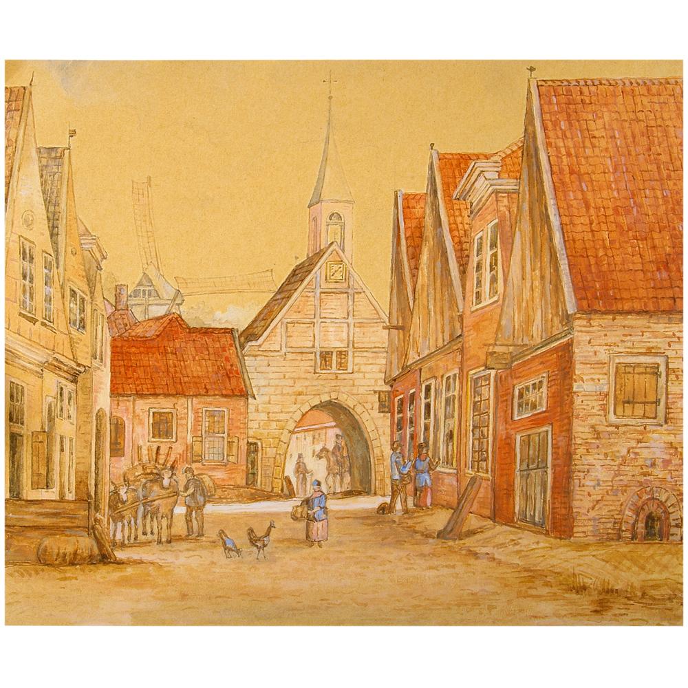 Aquarel: Bisschopspoort, Oldenzaal