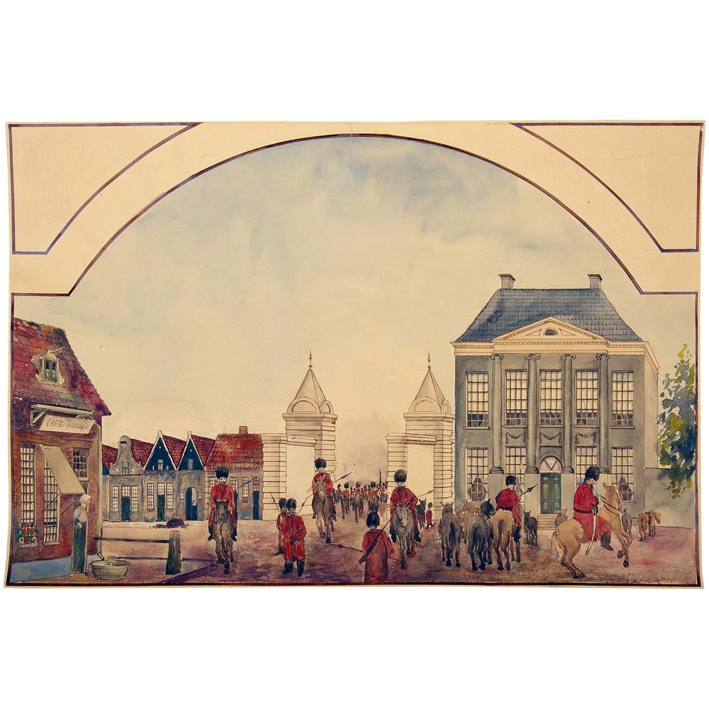 Aquarel: De Kozakken trekken door de Espoort Enschede binnen, november 1813