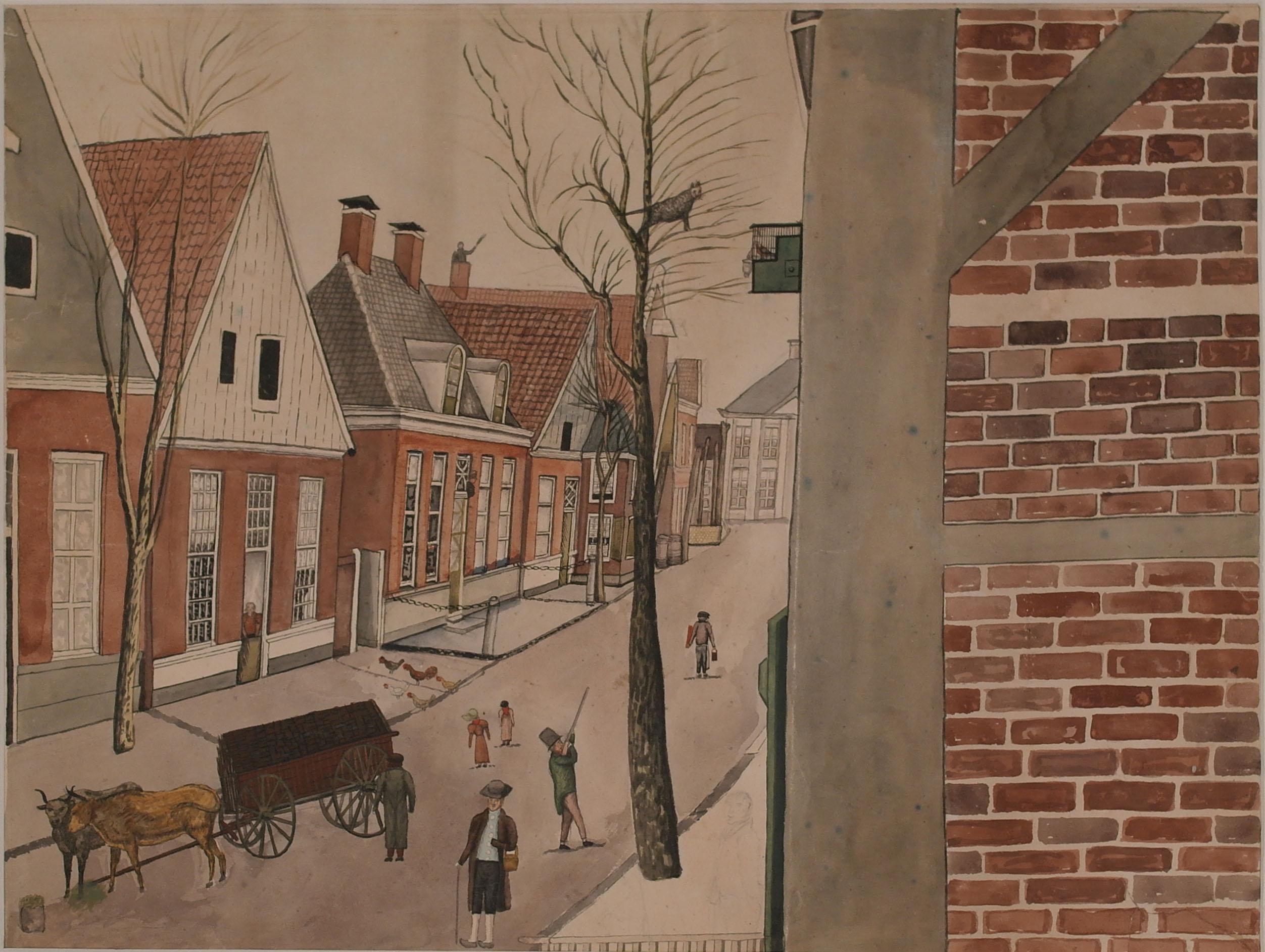 Aquarel: De Langestraat te Enschede in 1840, gedeelte west-oost