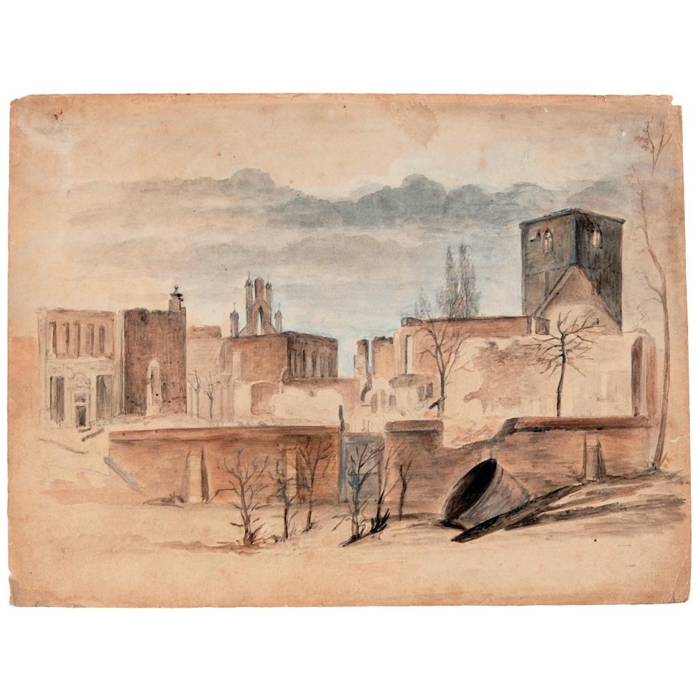 Aquarel: Gezicht op een gedeelte van Enschede na de brand van 1862