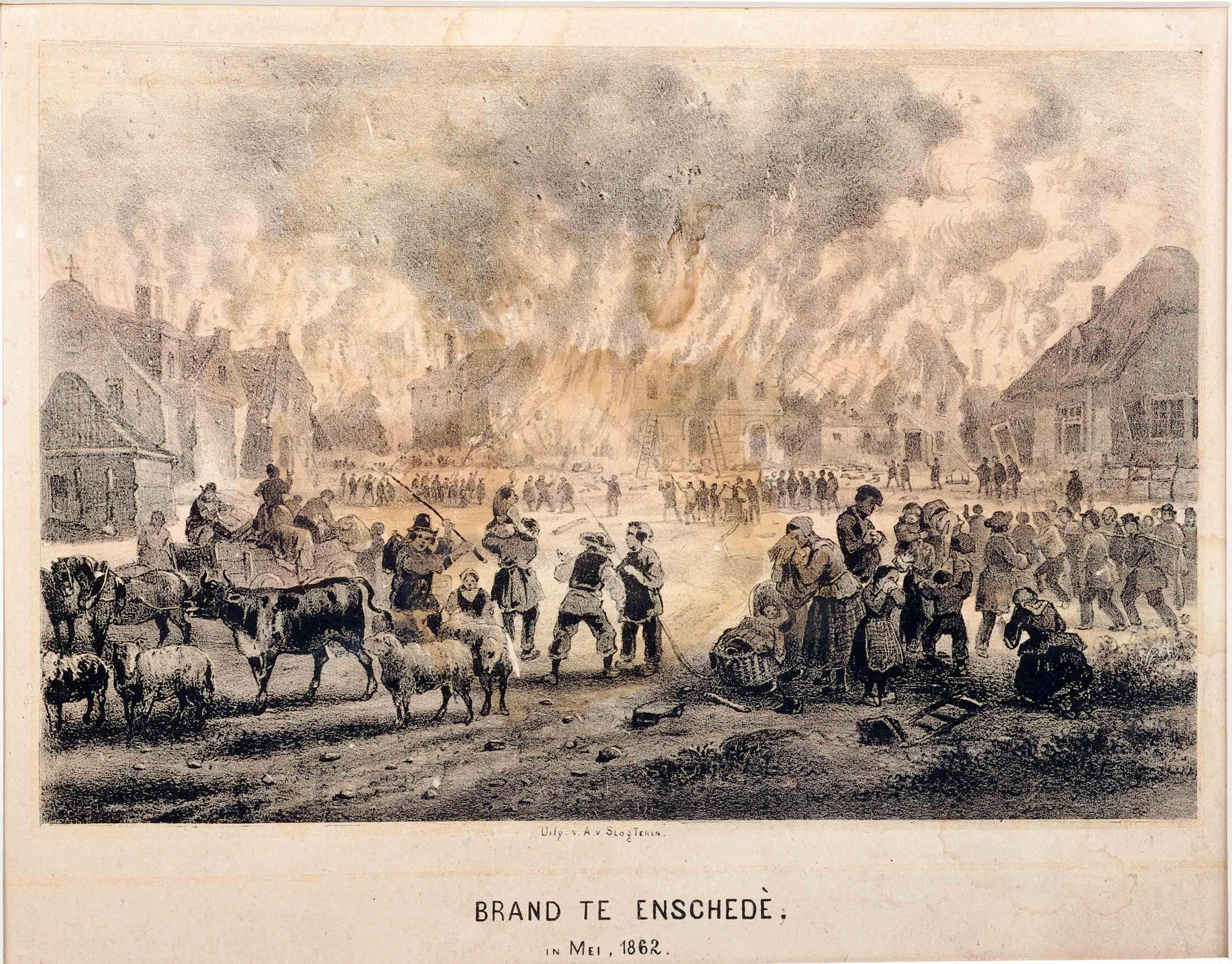 steendruk: Fantasie-afbeelding van een brandende stad of dorp met vluchtend vee en mensen. Enschede.