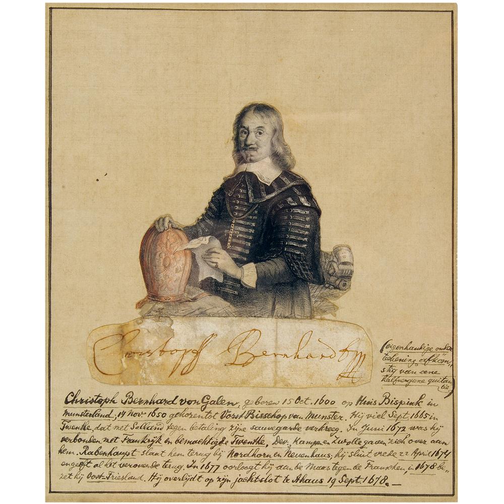 Steendruk: portret van Christoff Bernhard van Galen