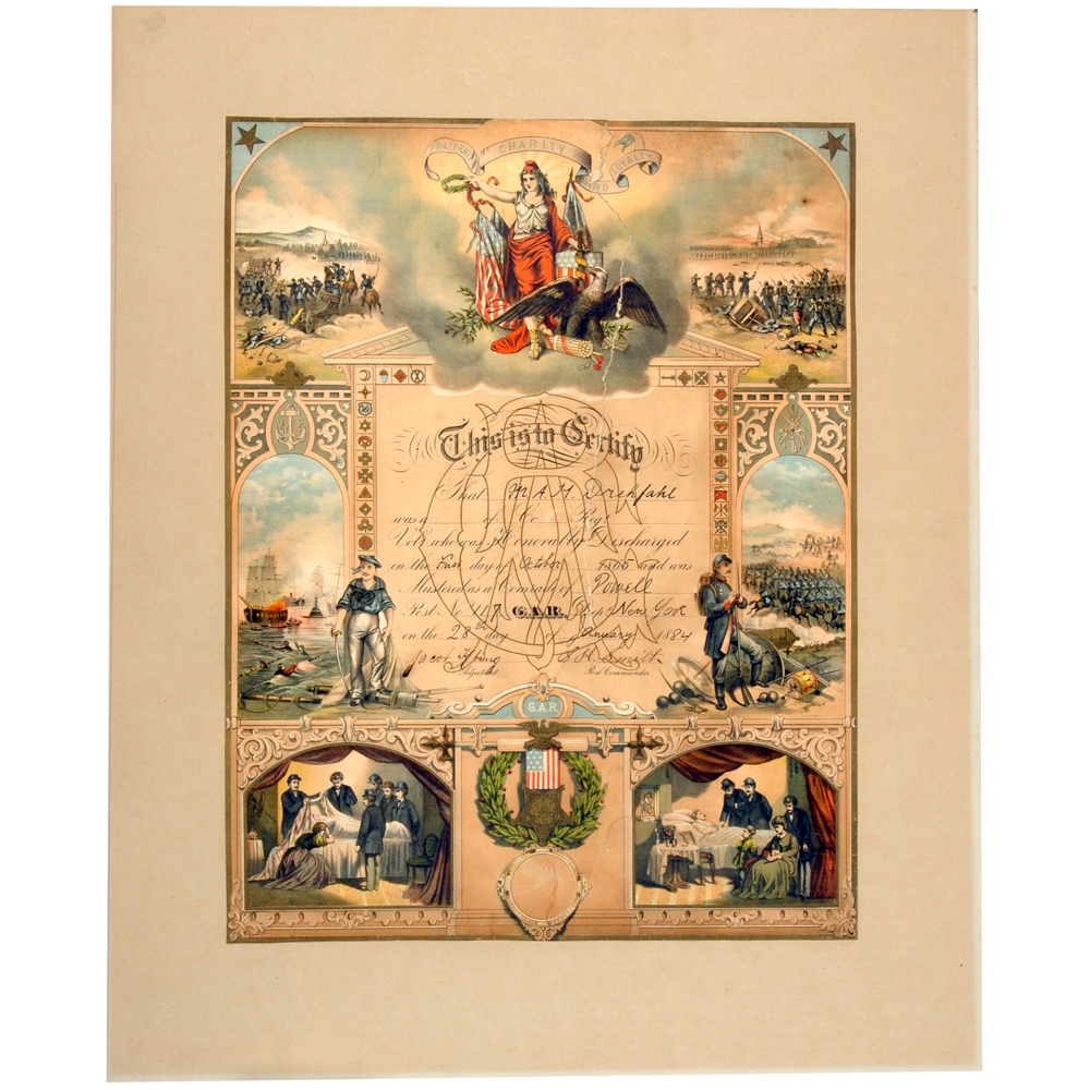 Prent: Ontslagbewijs voor A.H. Drehfahl uit het Amerikaanse leger 28 augustus 1884
