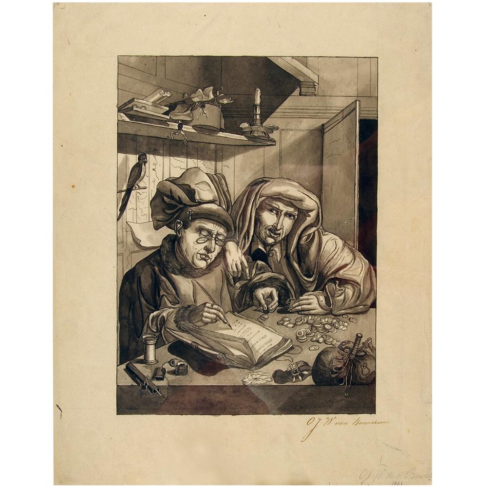 Gewassen tekening: De Geldwisselaars (of: De Muntverzamelaars)