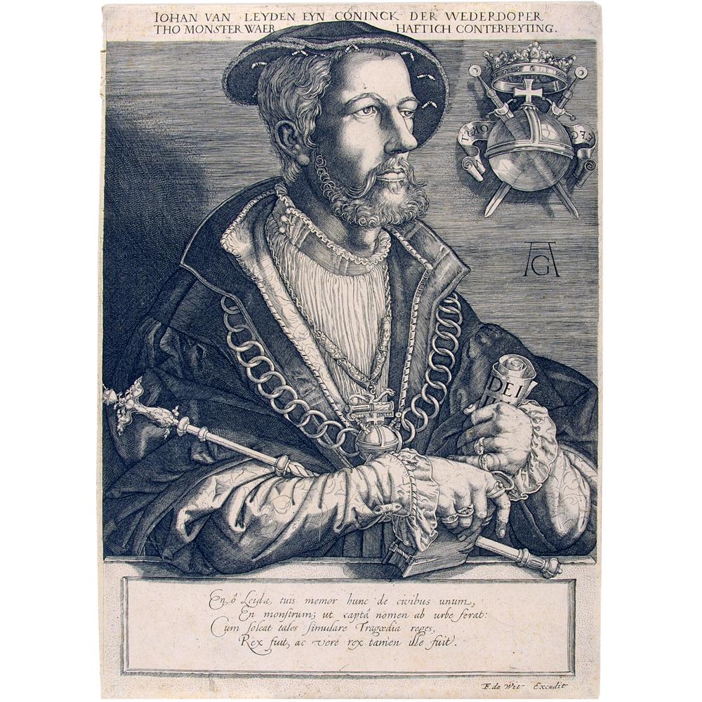 Gravure: Portret van Johan van Leyden, koning der Wederdopers te Münster.