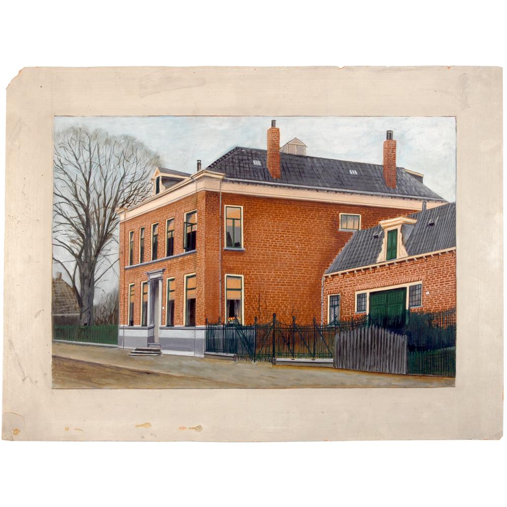 """Aquarel: Het huis """"met de hoge stoep"""" van de familie Blijdenstein"""