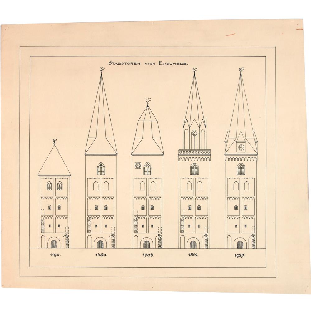 Pentekening: Vijf vooraanzichten van de toren van de oude kerk in Enschede 1190, 1480, 1703, 1862 en 1927.