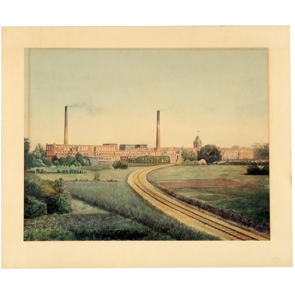 Reproductie prent:Textielfabriek Rigtersbleek te Enschede