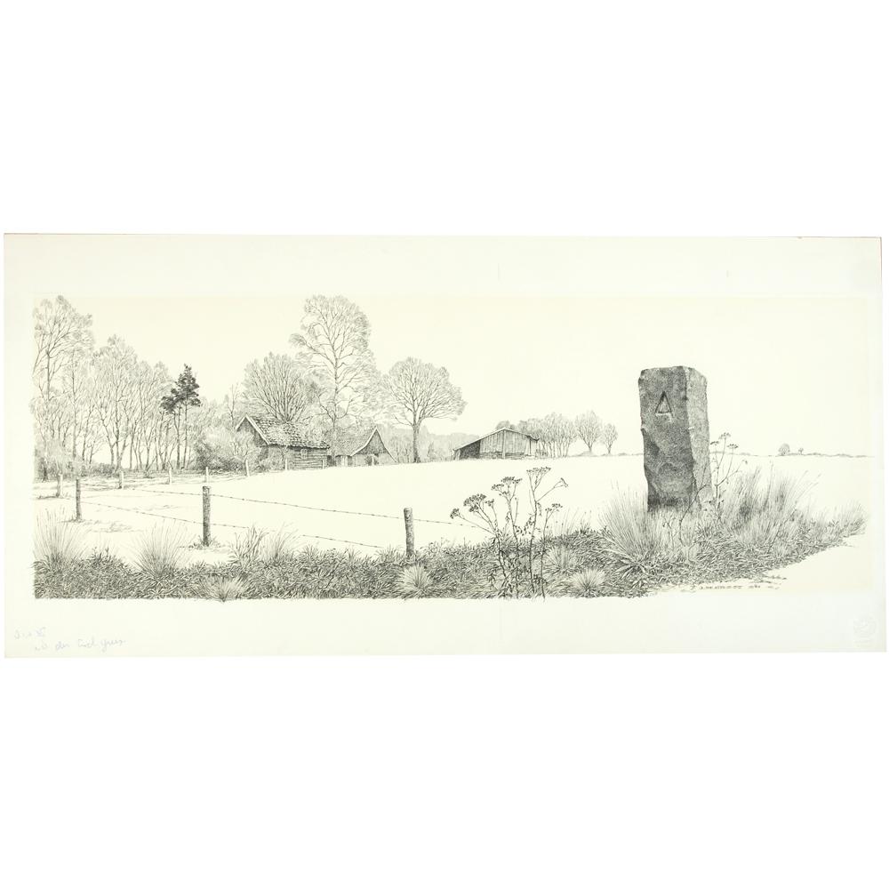 Pentekening: Wintergezicht met boerderij; rechts op de voorgrond stenen paal met delta-teken