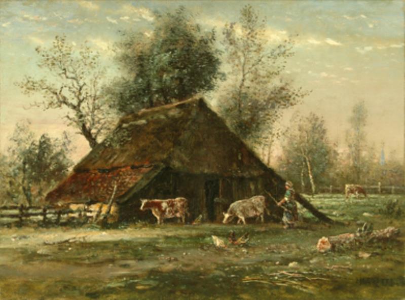 Schilderij: Boerenschuur met 2 koeien, hoedster, kippen