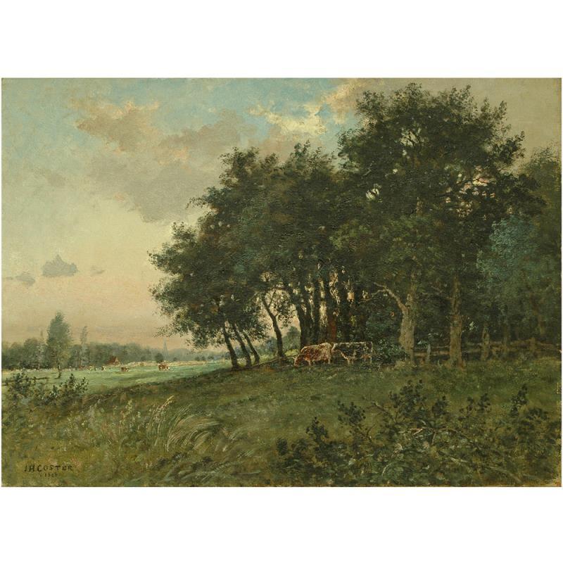 Schilderij: Landschap, bosrand en weide met koeien.