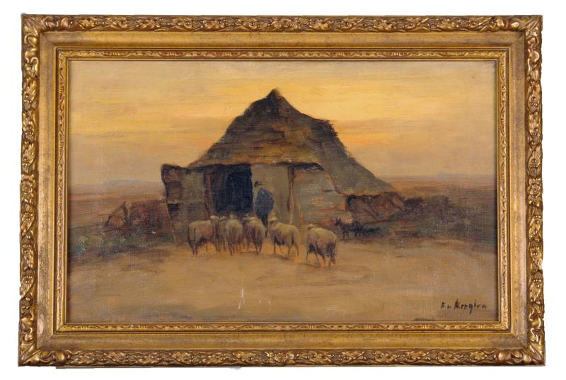 """Schilderij: """"Scholten's schot, Loenen aan de Veluwe 1850"""""""