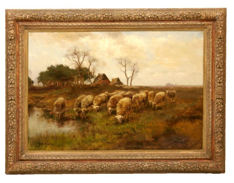 Schilderij: Schapen met boerderij aan de Oude Regge bij Notter