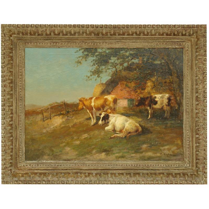 Schilderij: Koeien rustend aan de Reggewal bij Notter