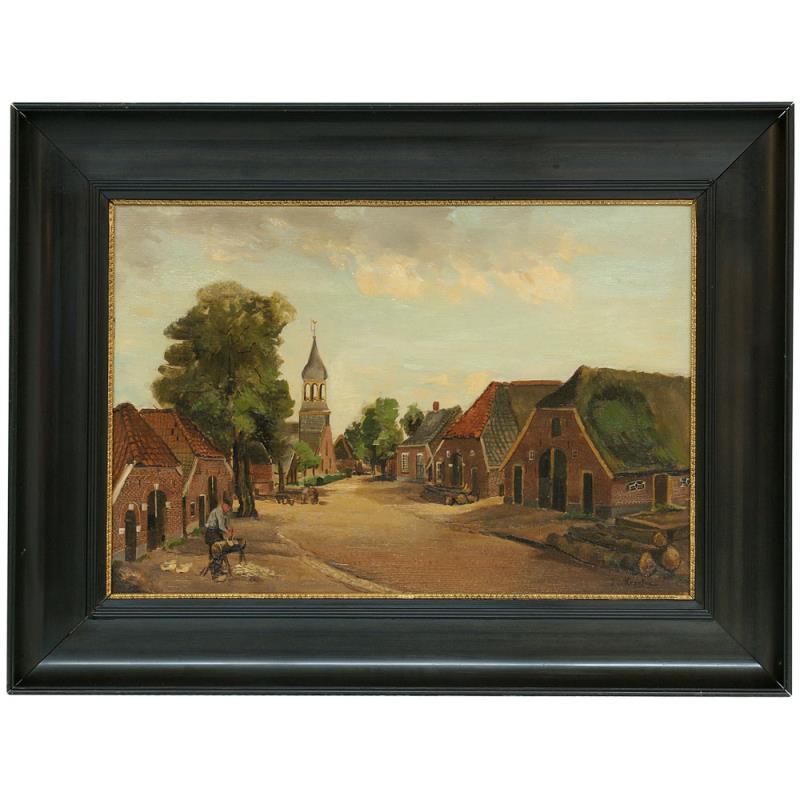 Schilderij: Dorpsstraat Enter. Op de achtergrond het oude Waterstaatskerkje. Op de voorgrond boerderijen met klompenmaker