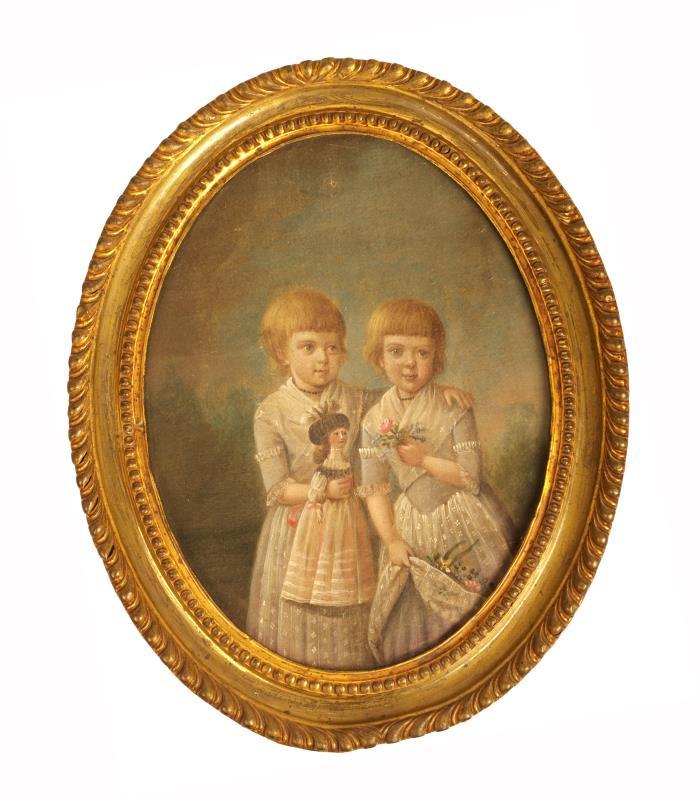 Schilderij: Portret tweeling Maria Margaretha Heck en Elisabeth Barbara Heck