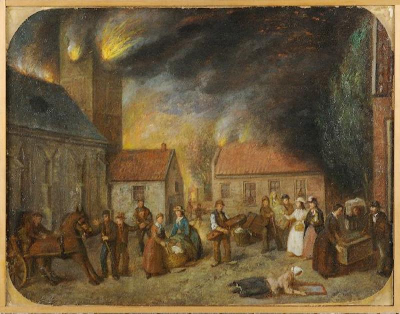 Schilderij: Brand van Enschede, 1862