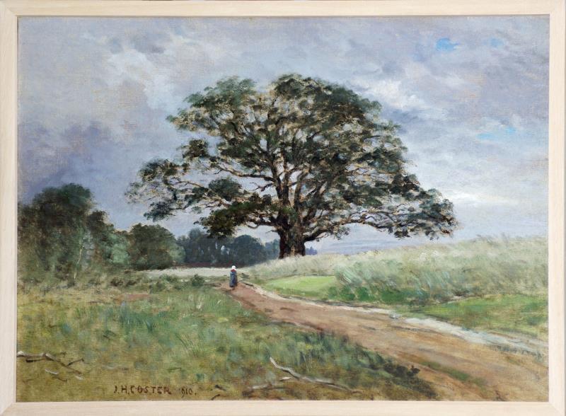 Schilderij: De Kroezeboom te Fleringen met korenveld.