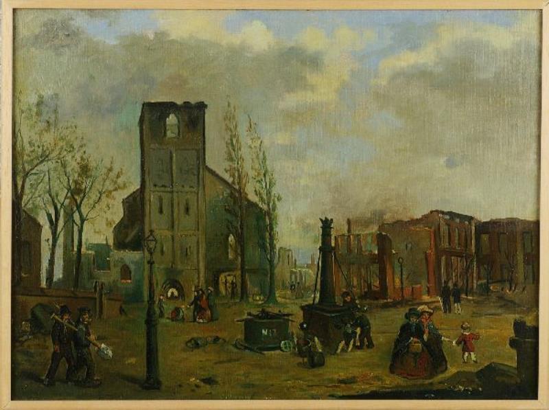 Schilderij: Markt Enschede na de brand