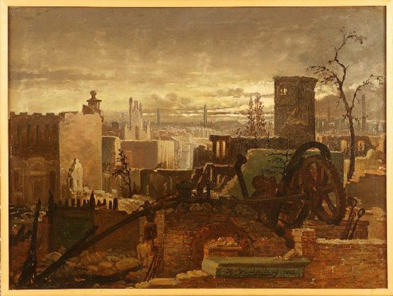 Schilderij: brand van Enschede