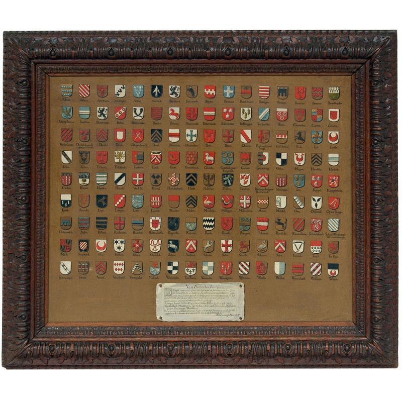 Schilderij: 144 heraldische wapens van de Overijsselse adel, 1716