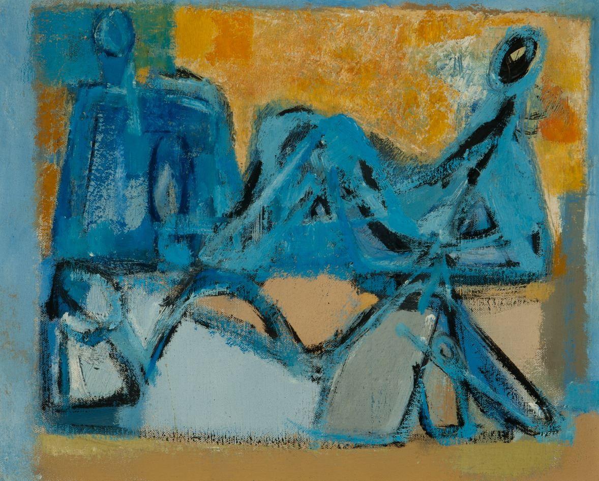 Drie blauwe figuren tegen een geel fond.