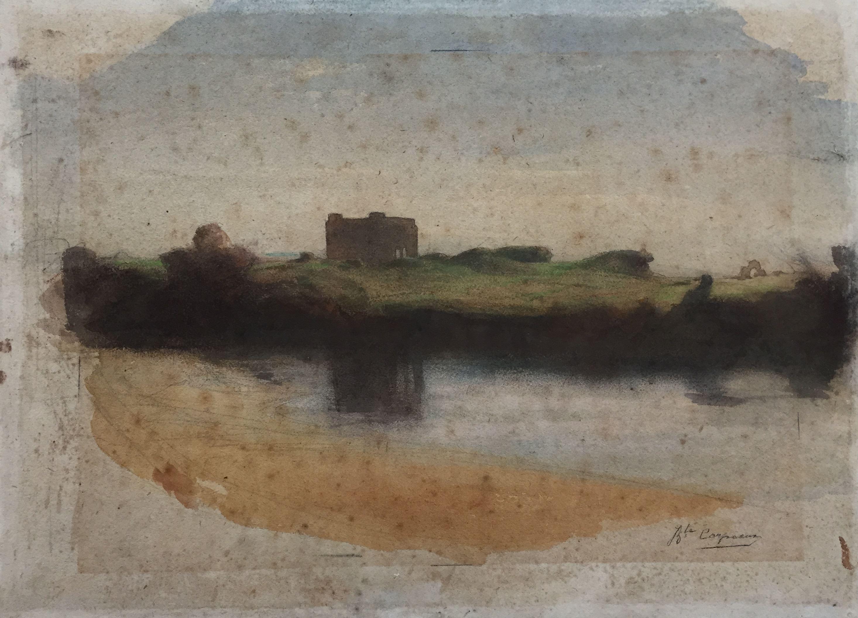 Landschap met burcht bij een rivier