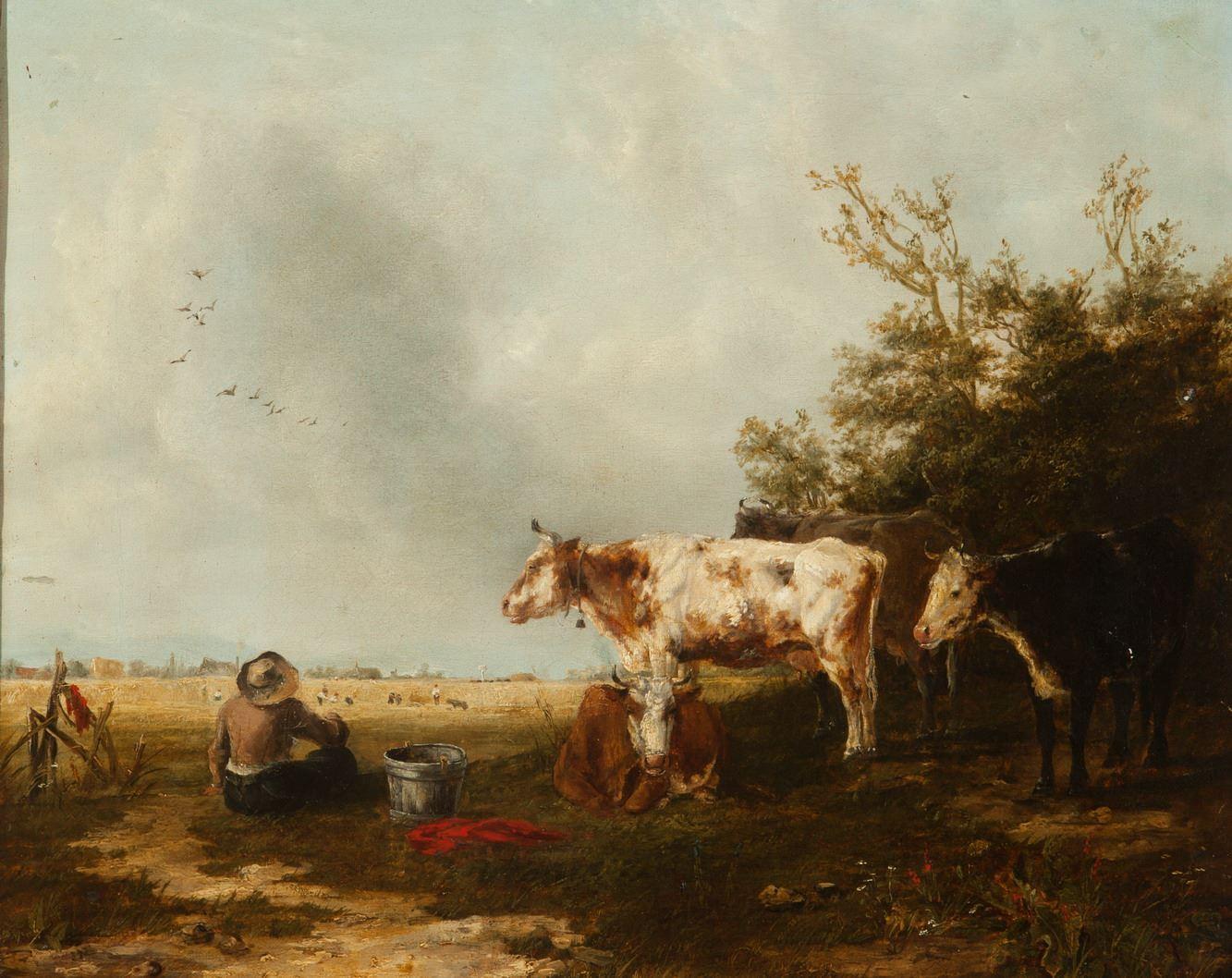 Landschap met koeien en een zittende figuur bij een bosrand
