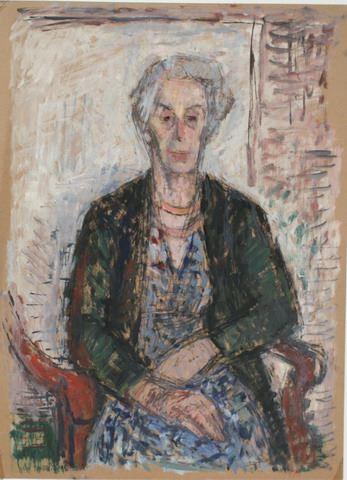 Portret van een vrouw zittend in een stoel.