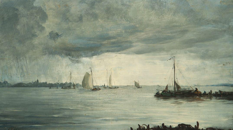 Regenbui boven de IJssel.