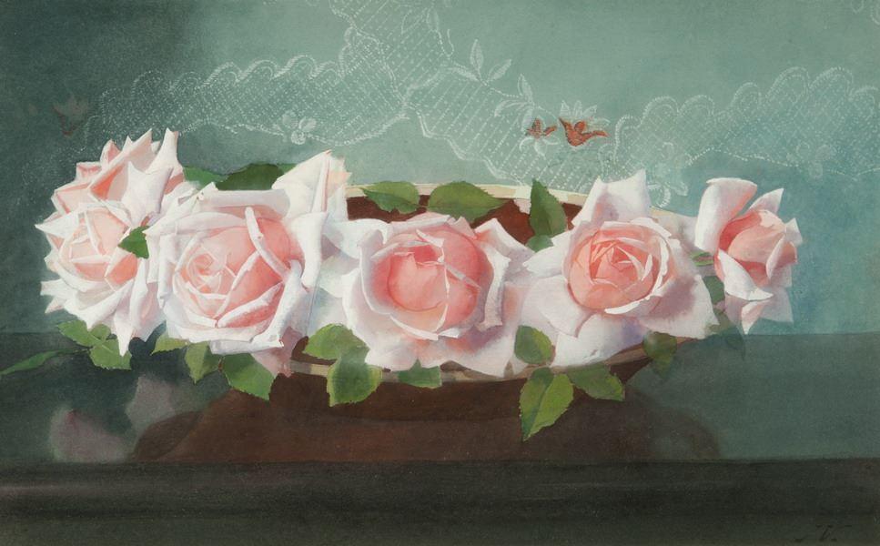 'La France'-rozen in aardewerken schaal.