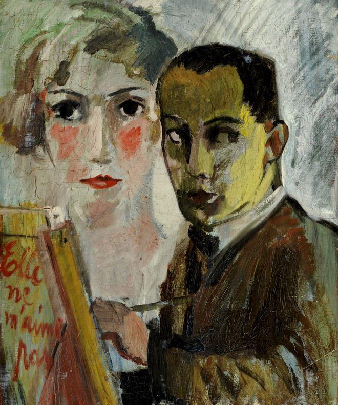 """Zelfportret met een vrouw en de opschrift """"elle ne m'aime pas"""""""
