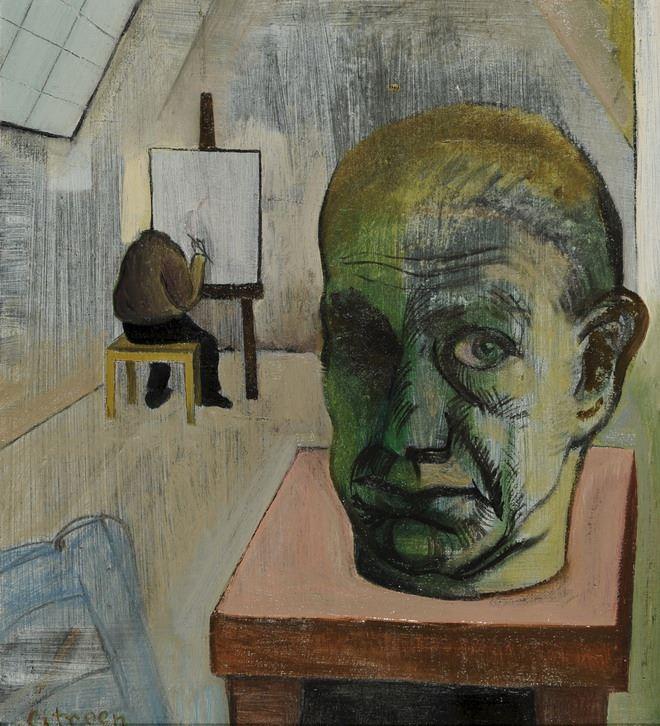 De schilder schildert zijn zelfportret.