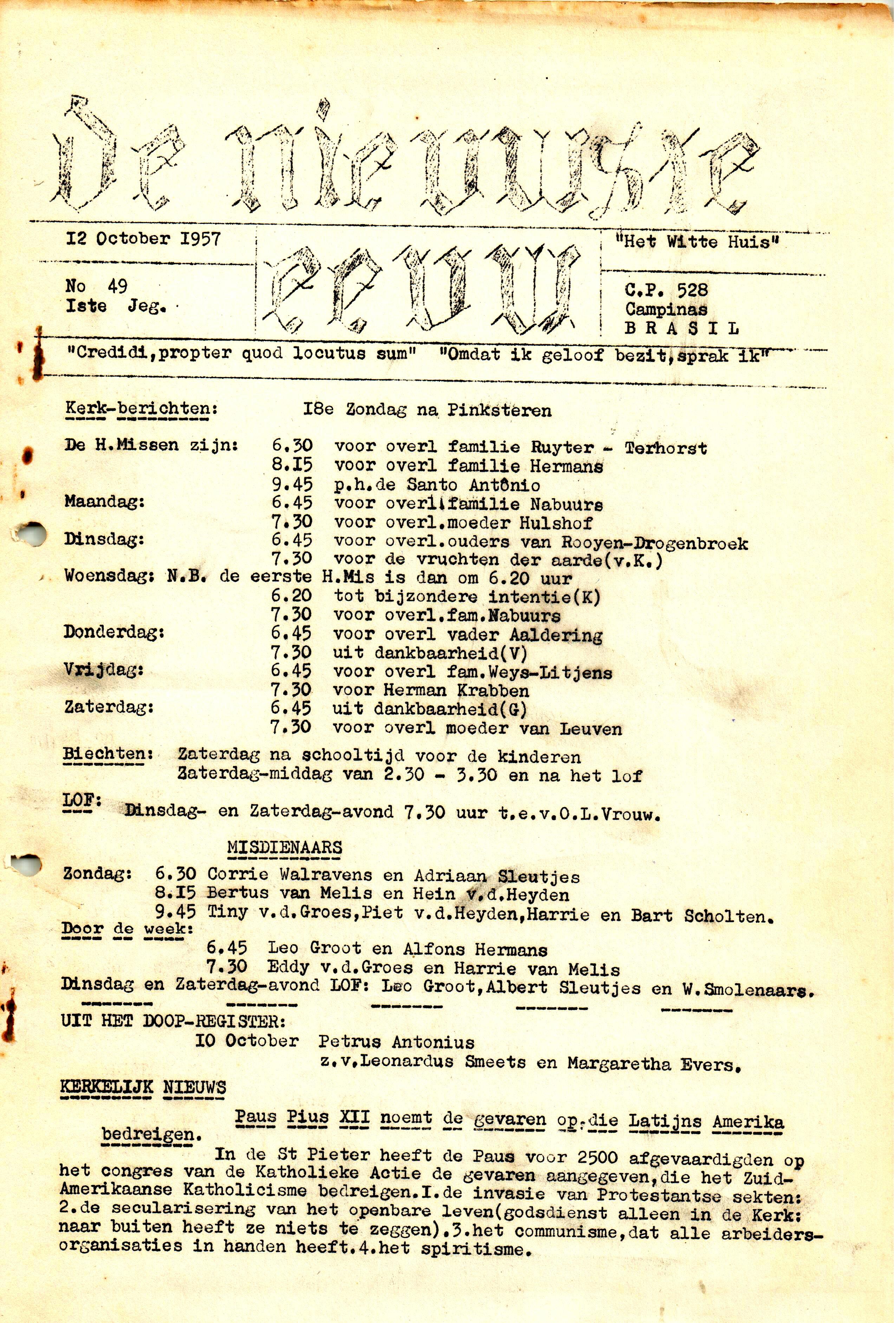 DE NIEUWSTE EEUW N°49 - 1e JRG