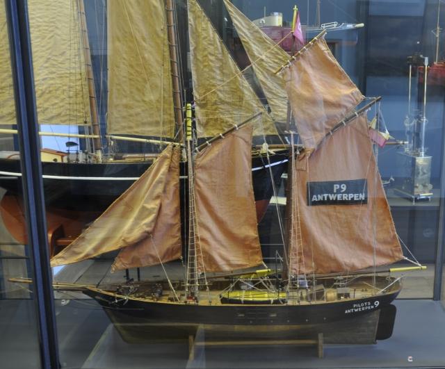 Volmodel van 19e eeuwse loodsschoener 'P 9 Antwerpen'