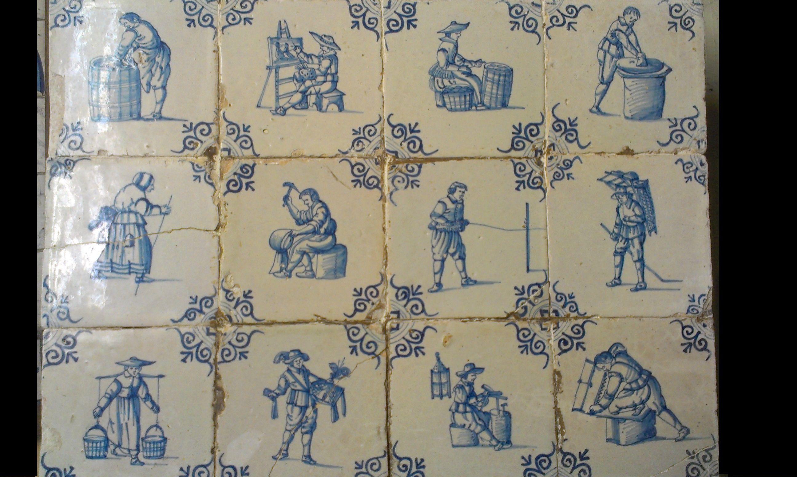 Blok van 12 tegels: Ambachten. ca. 1650
