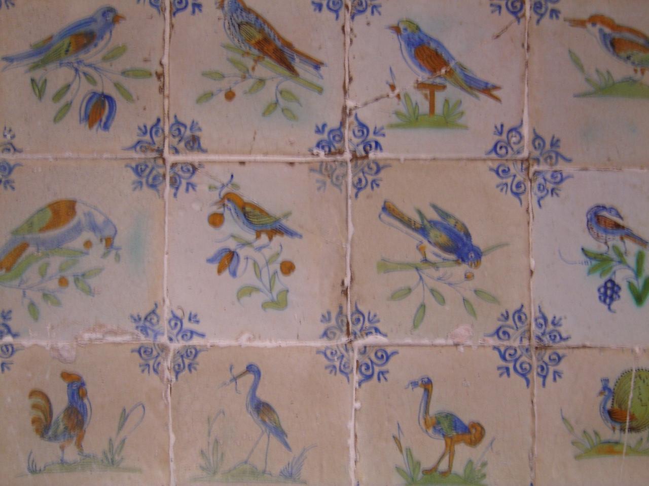 Blok van 12 tegels. Vogels. (Fries).