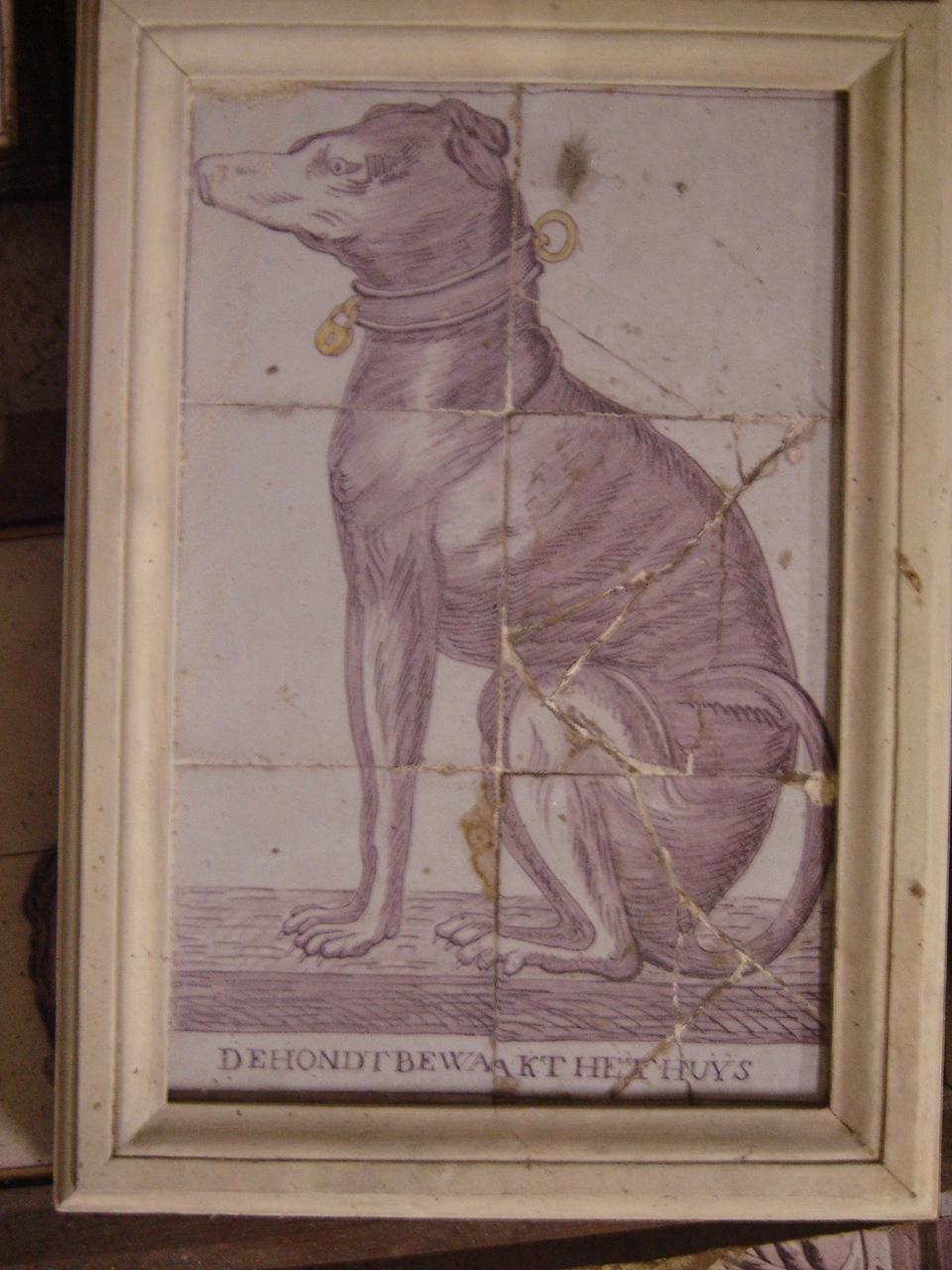 Tableau van 6 tegels: hond.