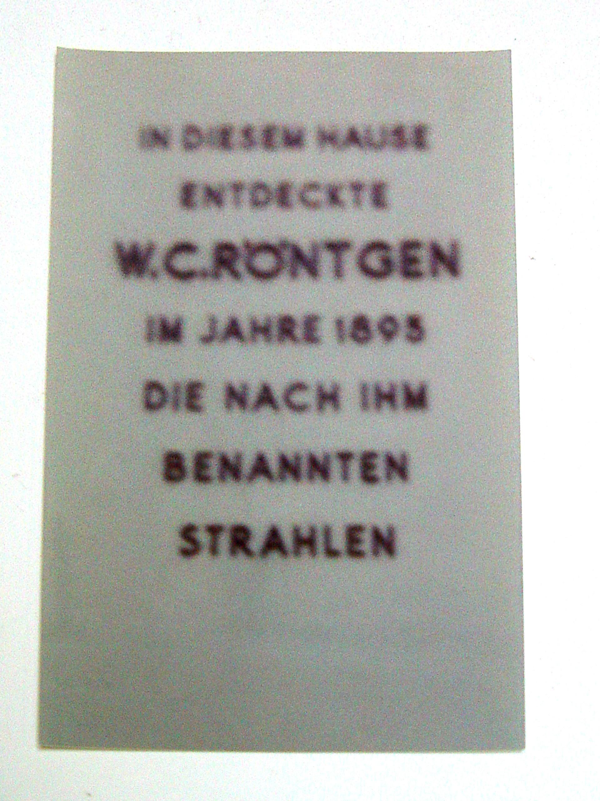 Foto waar W.C. Röntgen de röntgenstralen ontdekte, 1979