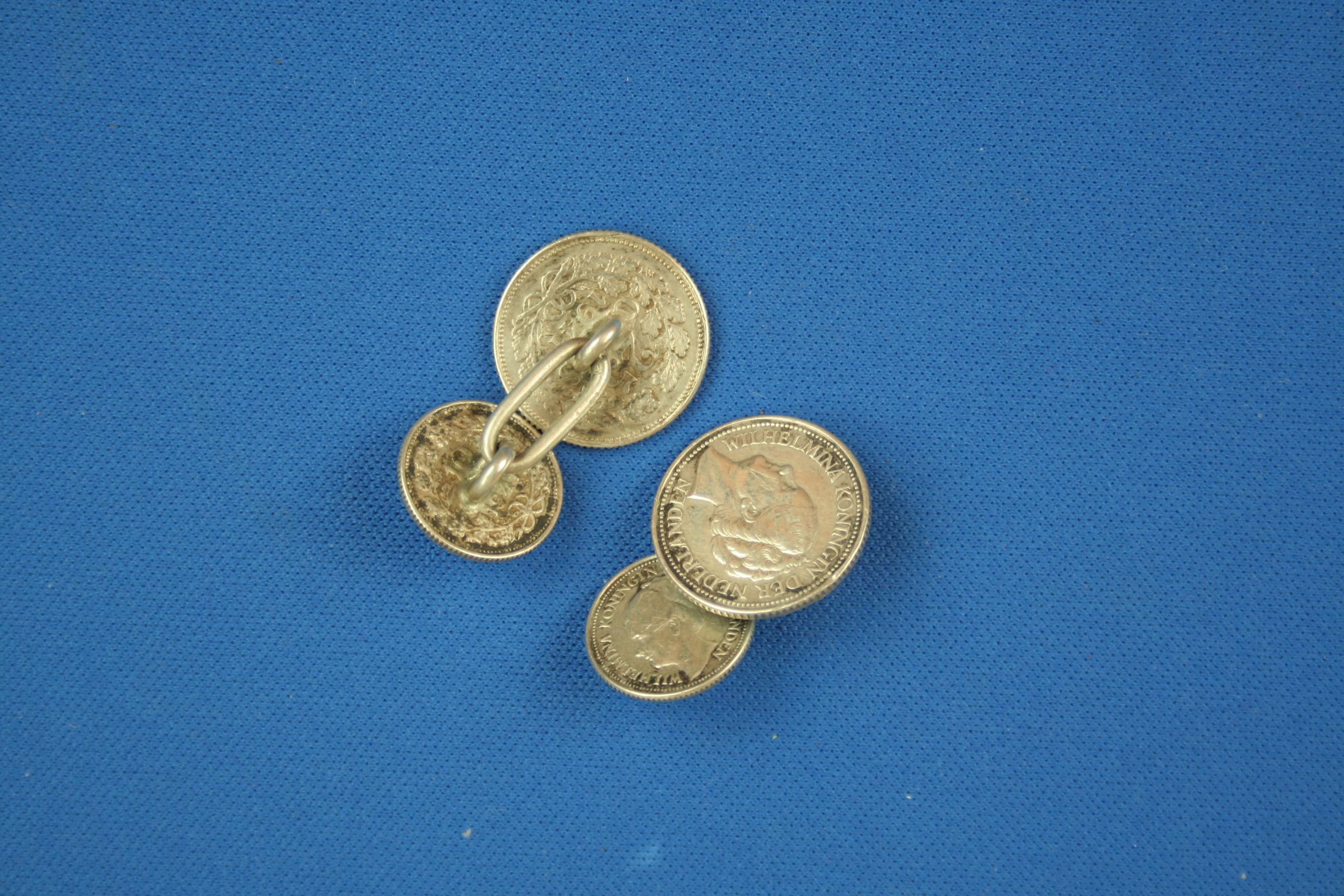 Manchetknopen - dubbeltje en kwartje knoop